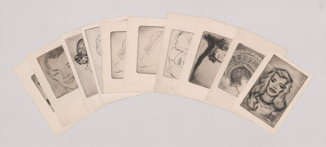 Twelve Portrait Etchings Unsigned