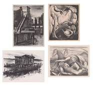 Four Unsigned WPA Era Lithographs