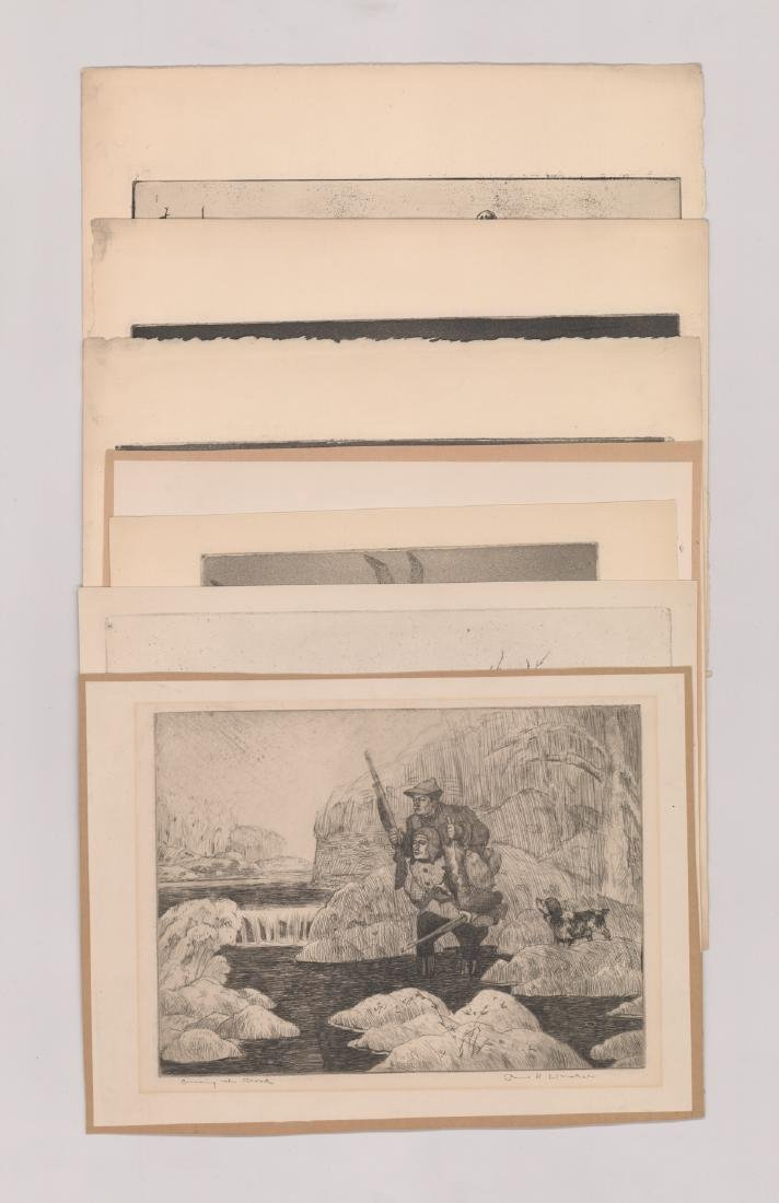 Seven Paul H. Winchell Signed Etchings