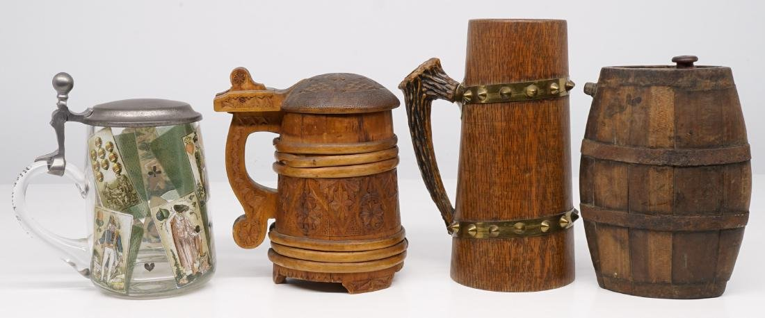 Antique Wood Tankards, Steins and Flask