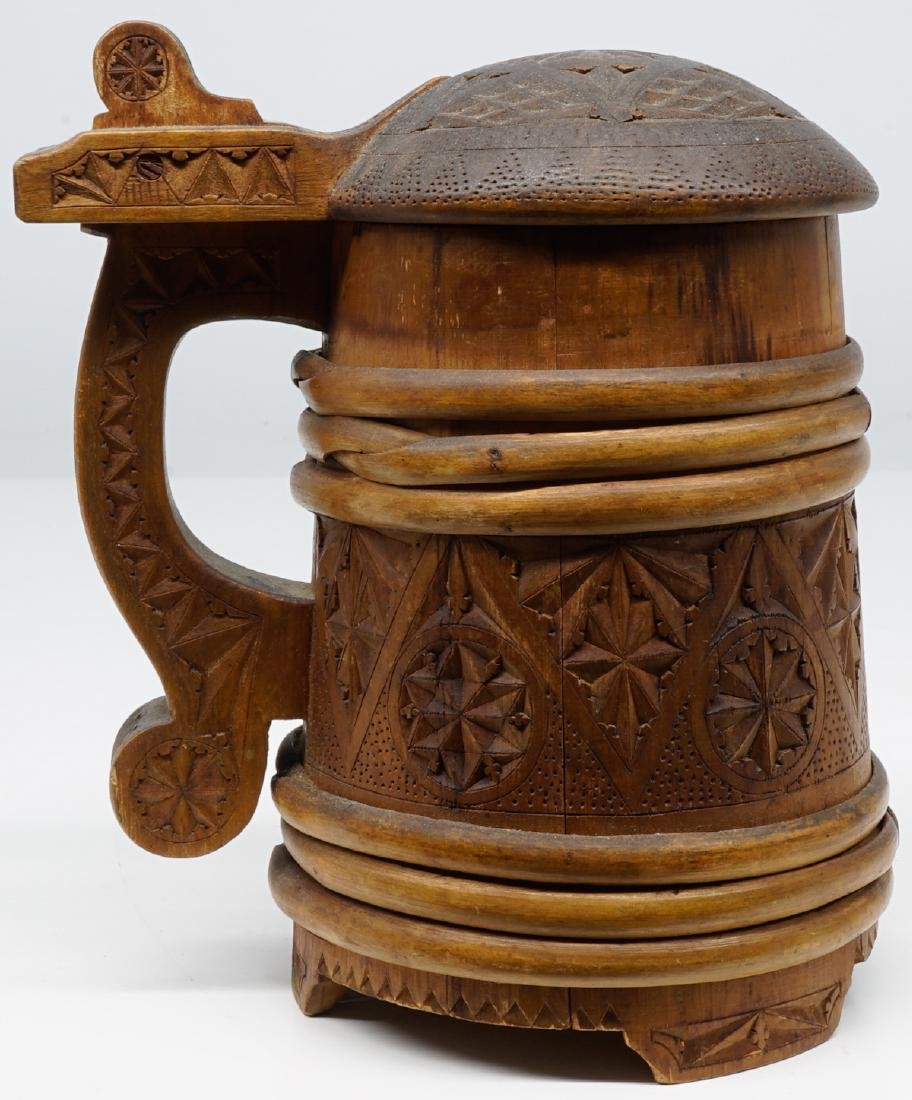Antique Wood Tankards, Steins and Flask - 4