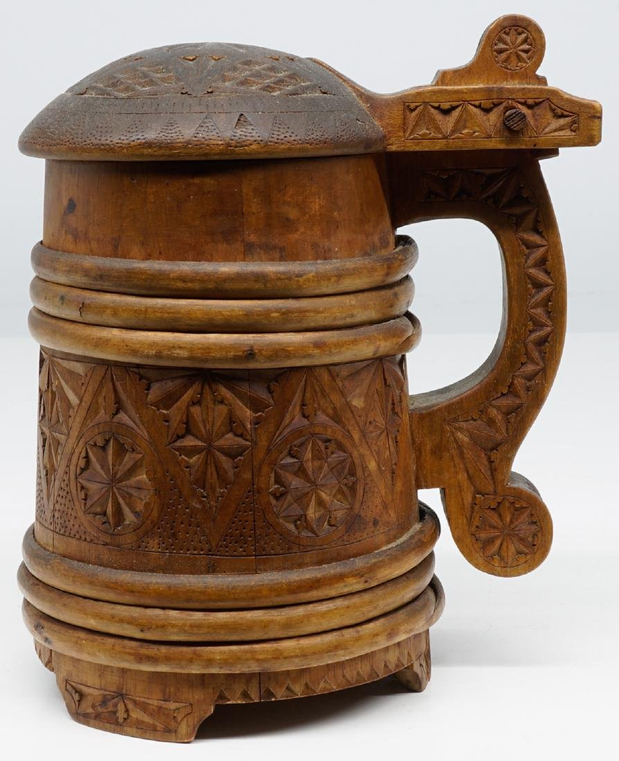 Antique Wood Tankards, Steins and Flask - 5