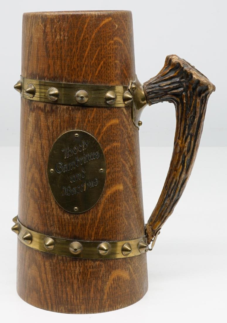 Antique Wood Tankards, Steins and Flask - 9