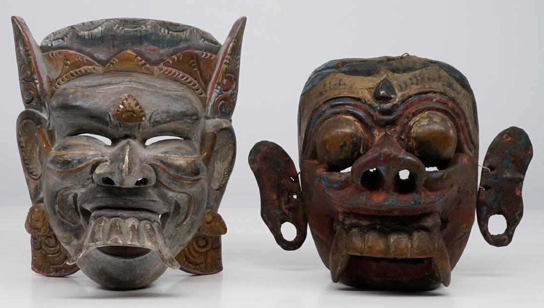 Two Southeast Asian Carved Wood Masks