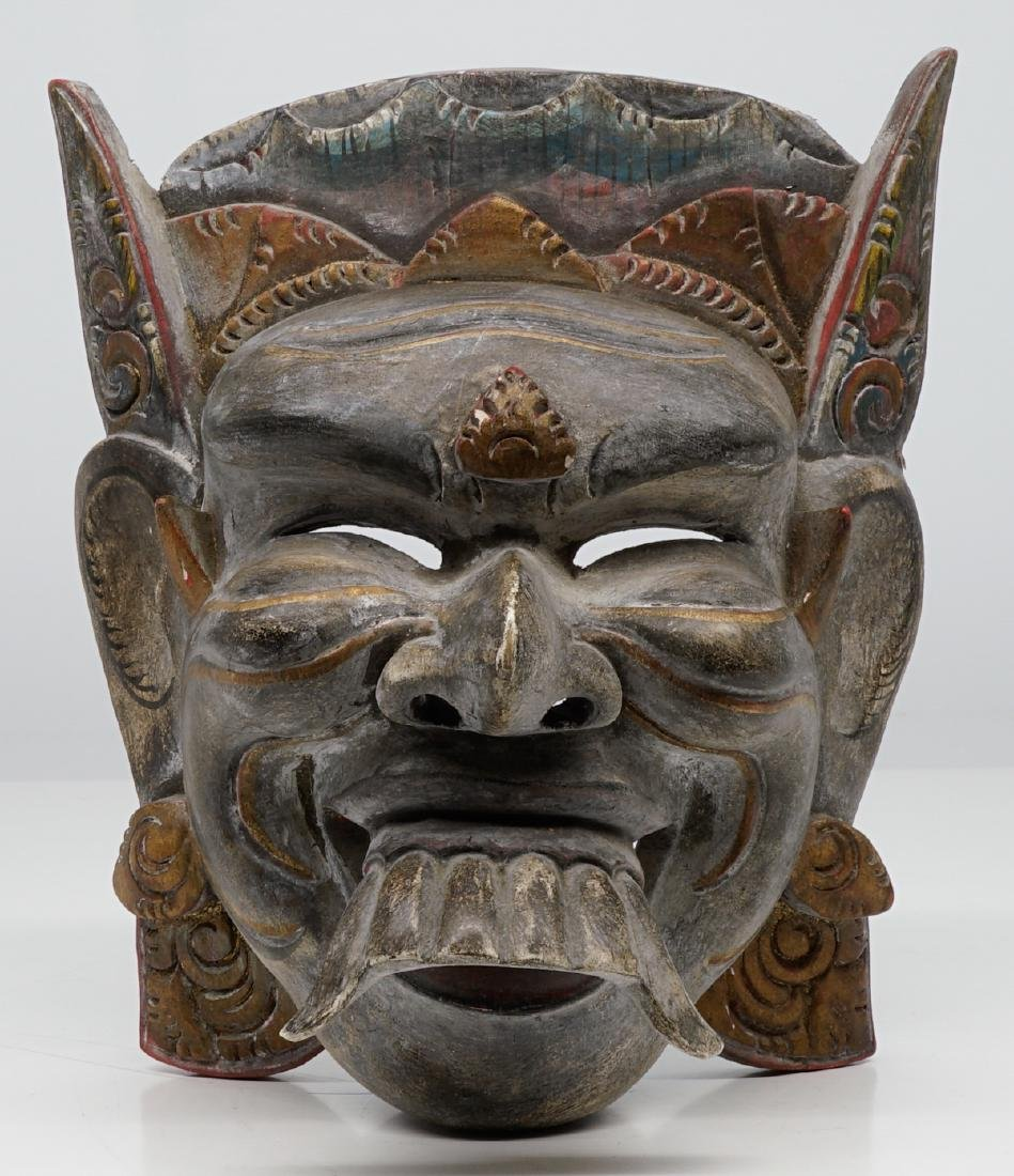 Two Southeast Asian Carved Wood Masks - 2