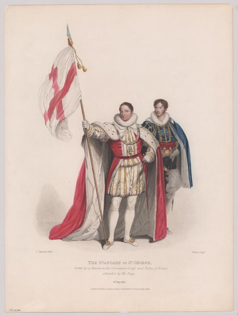 Ca.1825 Colored Lithograph Standard of St George