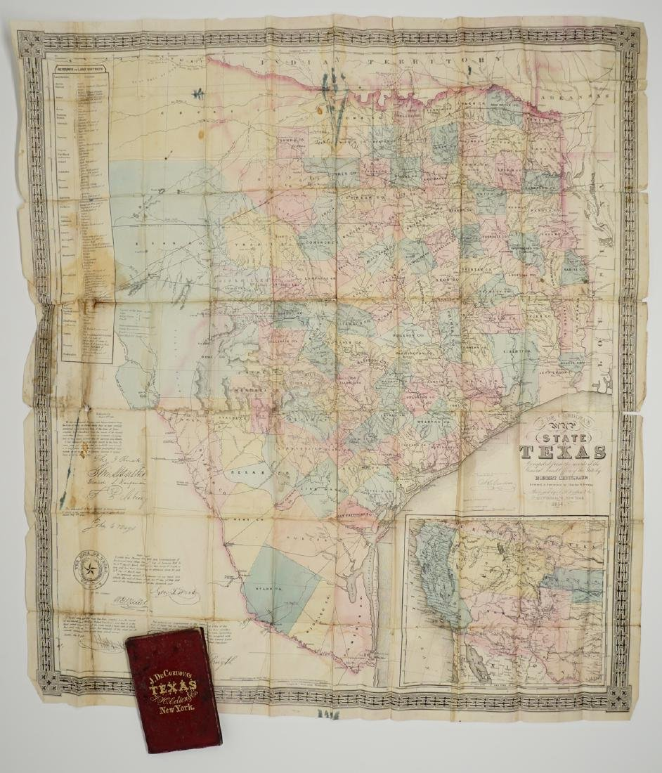 Map State Of Texas.De Cordova S Map Of The State Of Texas 1856