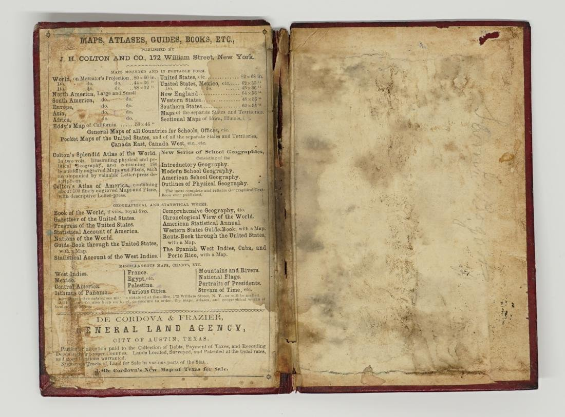 De Cordova's Map of the State of Texas, 1856 - 7