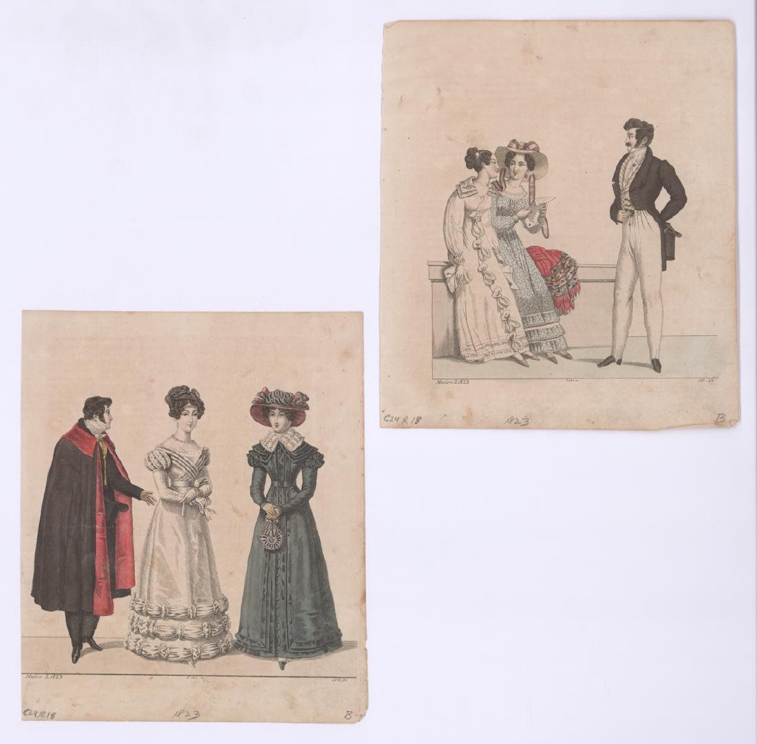 1823 Hand Colored Fashion Prints with Men [2]