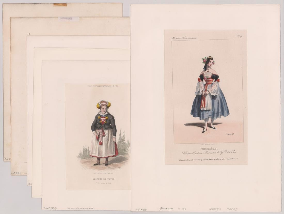 Ca.1802-1870's Hand Colored Fashion Prints (6)