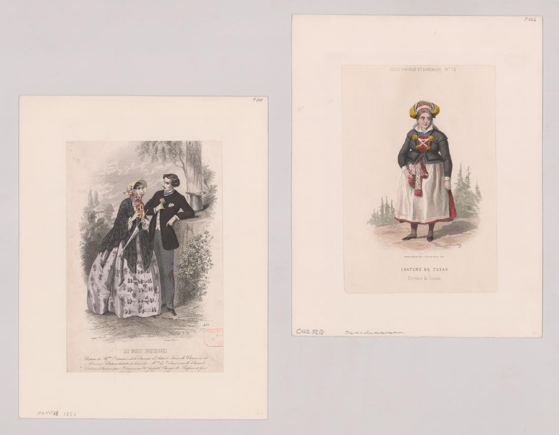 Ca.1802-1870's Hand Colored Fashion Prints (6) - 3