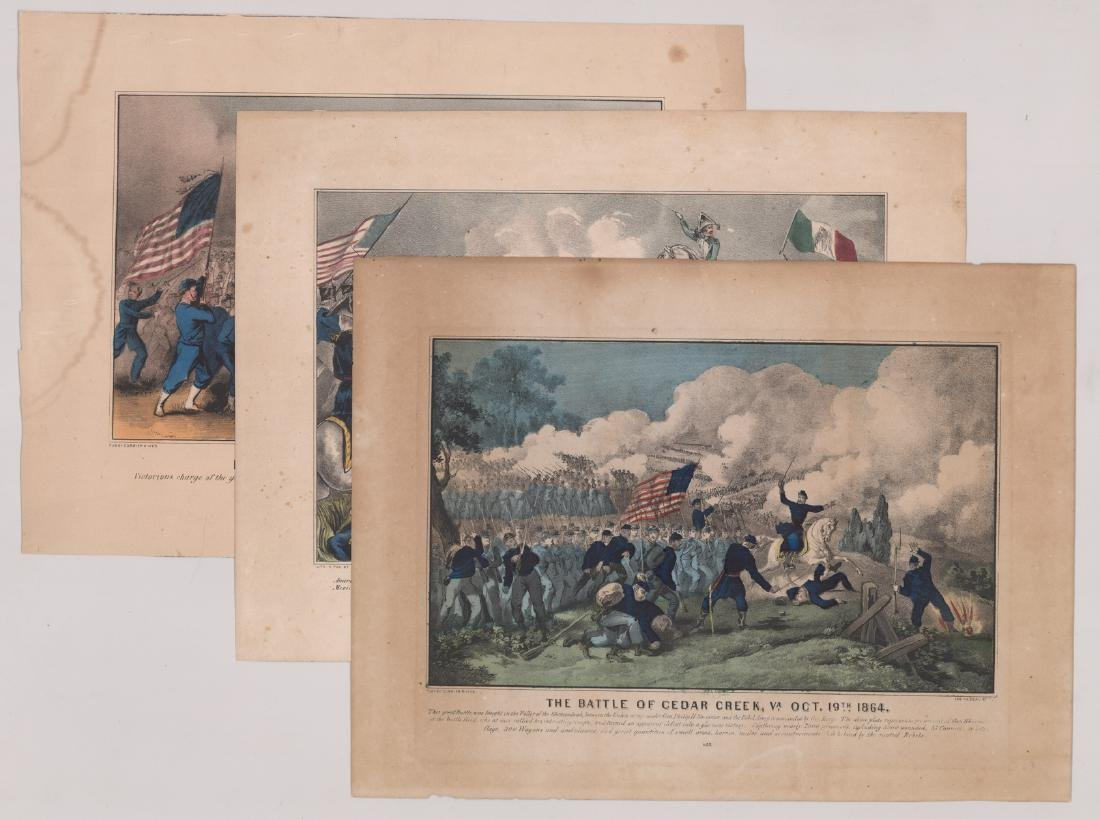 Currier and Ives Battle Scene Prints (3)