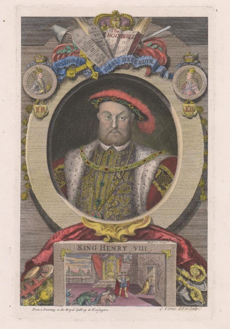 King Henry VIII Colored Engraving by George Vertue