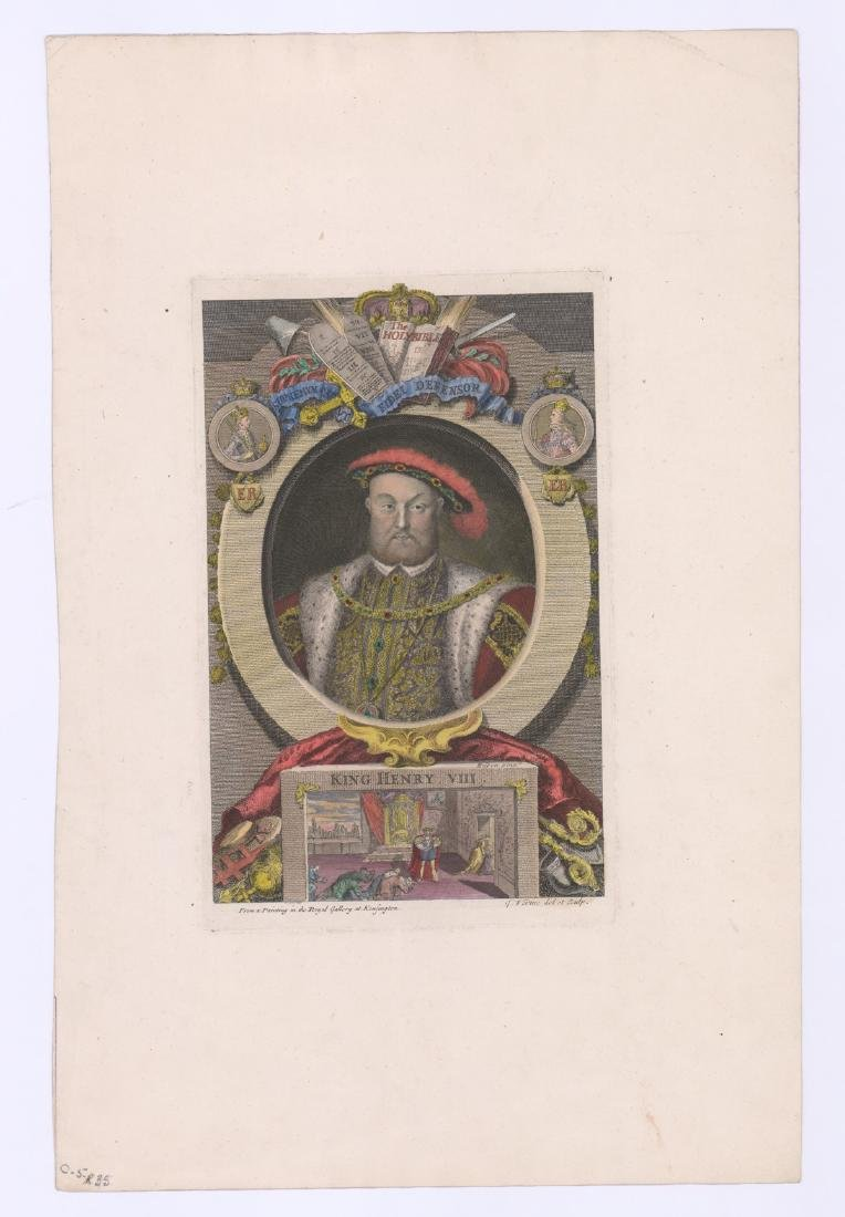 King Henry VIII Colored Engraving by George Vertue - 2