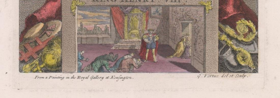 King Henry VIII Colored Engraving by George Vertue - 3