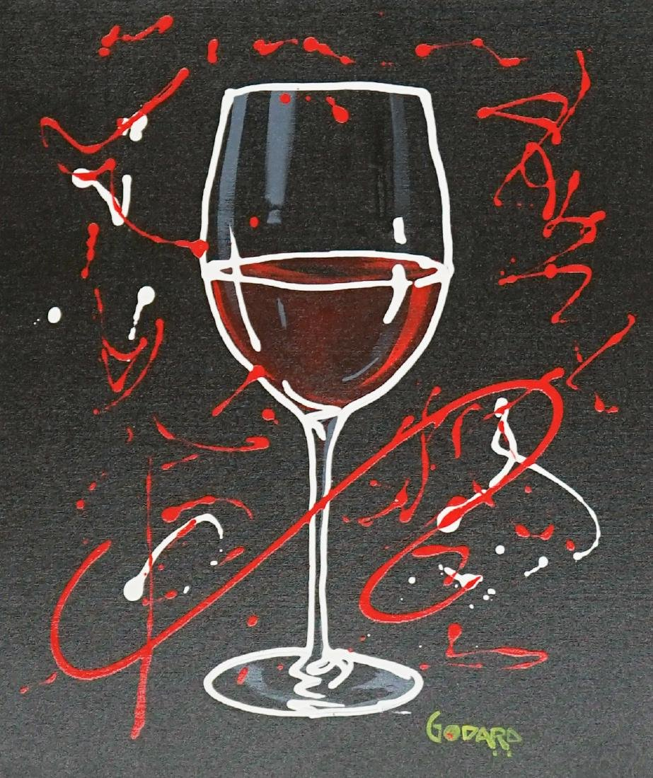 Michael Godard, Red Wine on Black, Signed Acrylic