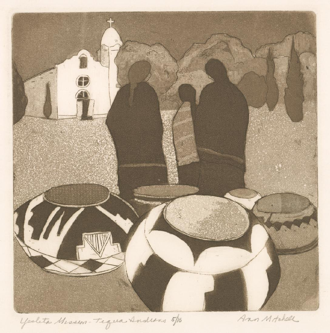 Anna Ames Mitchell Signed Aquatint Etching