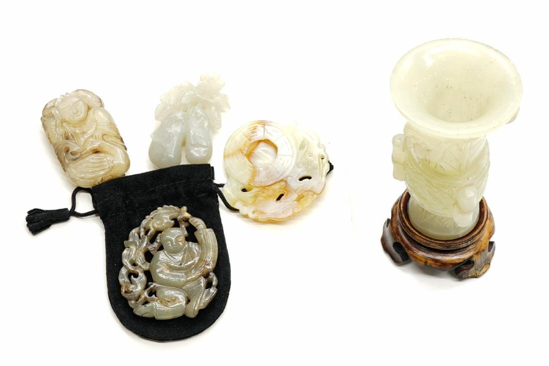 Five Small Pieces of Chinese Nephrite Jade and Ha