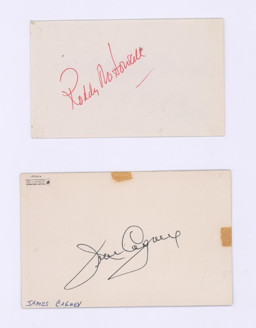 Roddy McDowall/James Cagney Signed Cards (2) COAs