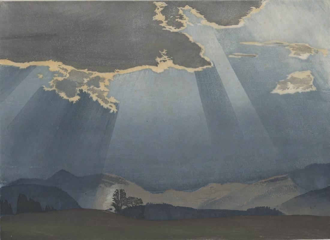 Hans Frank Color Woodcut [Sun Thru Clouds]