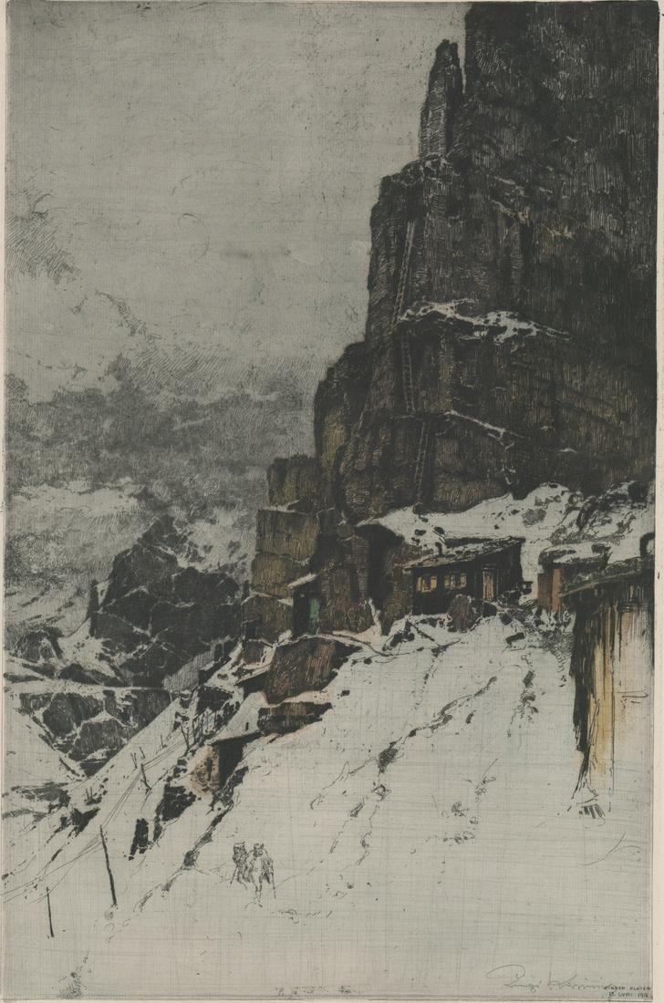 Luigi Kasimir Etching [Mountain, Village]