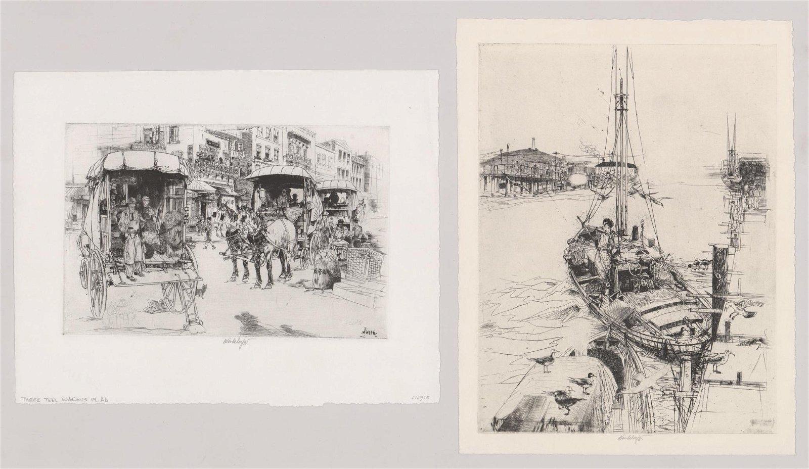 John Winkler Etchings [Boat, City Market]