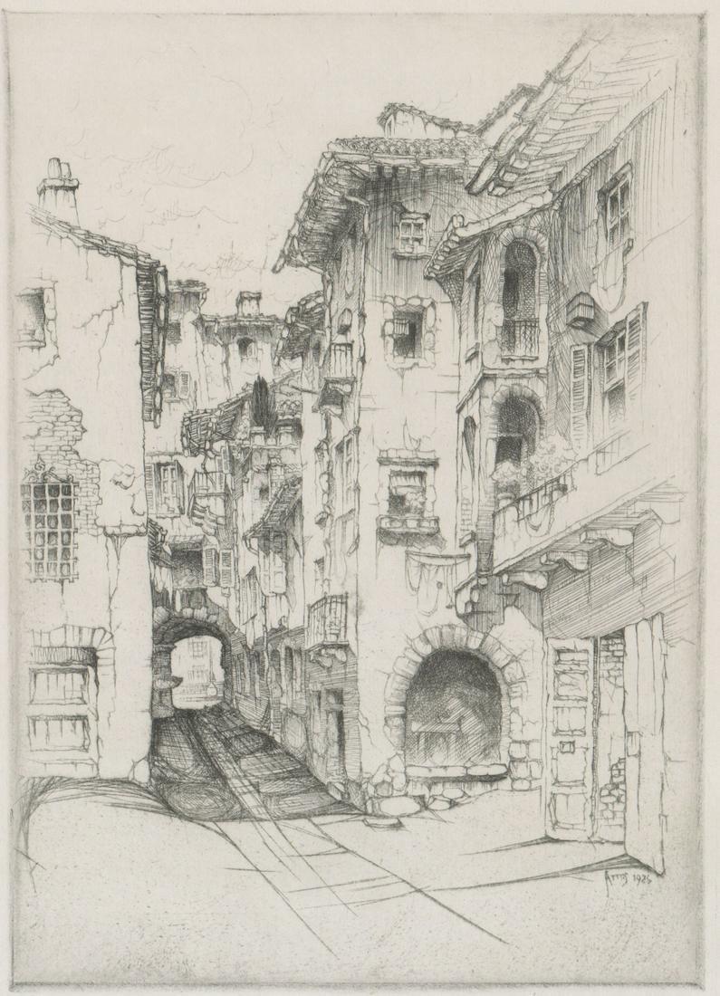 John Taylor Arms Etching [Street Scene]