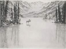 Hans Kleiber Etching AAA Moose Rockies