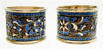 Antique Russian Silver and Enamel Napkin Rings