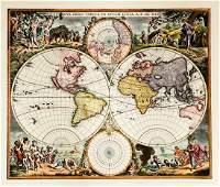 After Frederick de Wit HandColored Restrike Map