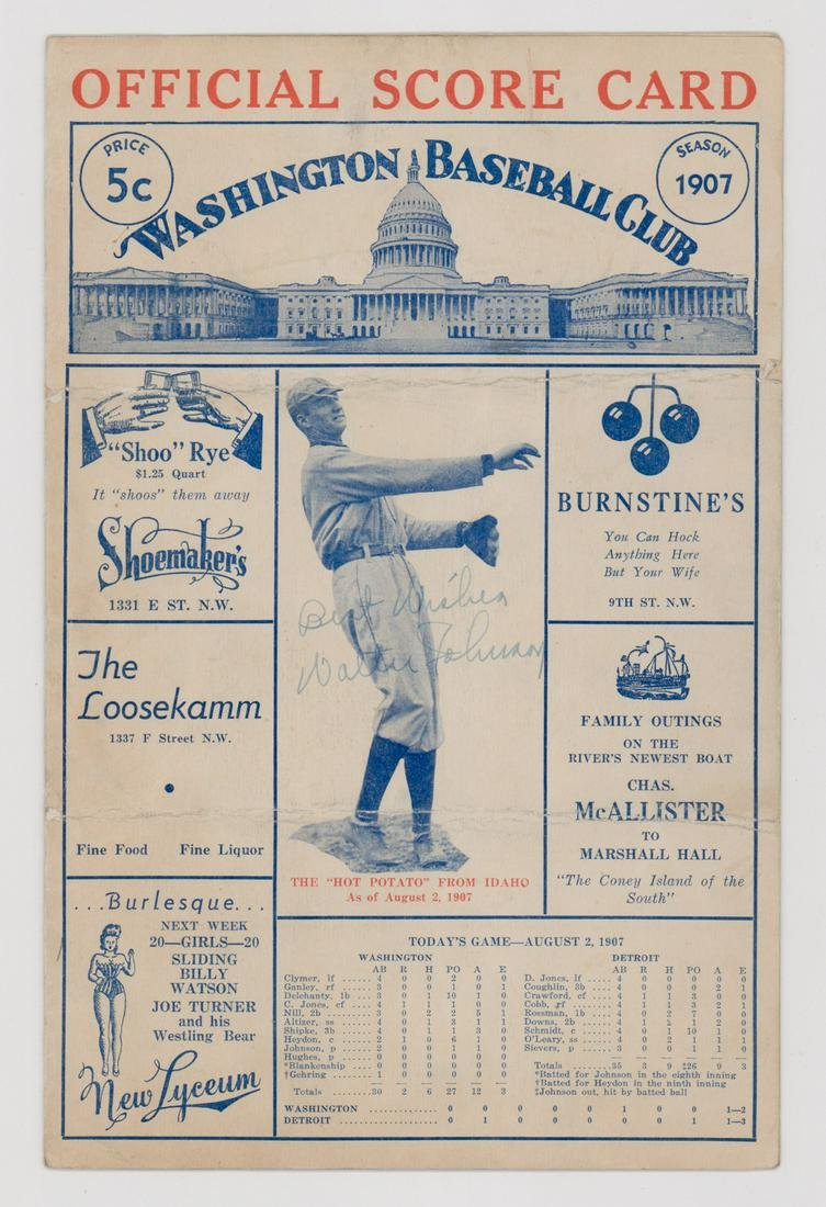 Walter Johnson Signed Program