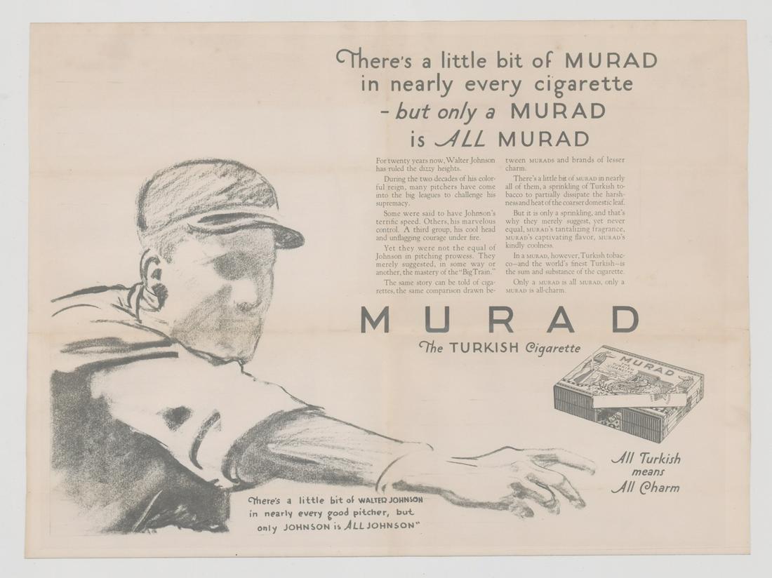 Circa 1927 Walter Johnson Murad Tobacco Poster
