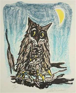 Ernest Leroy (Lobo) Nocho Lithograph [Owl]