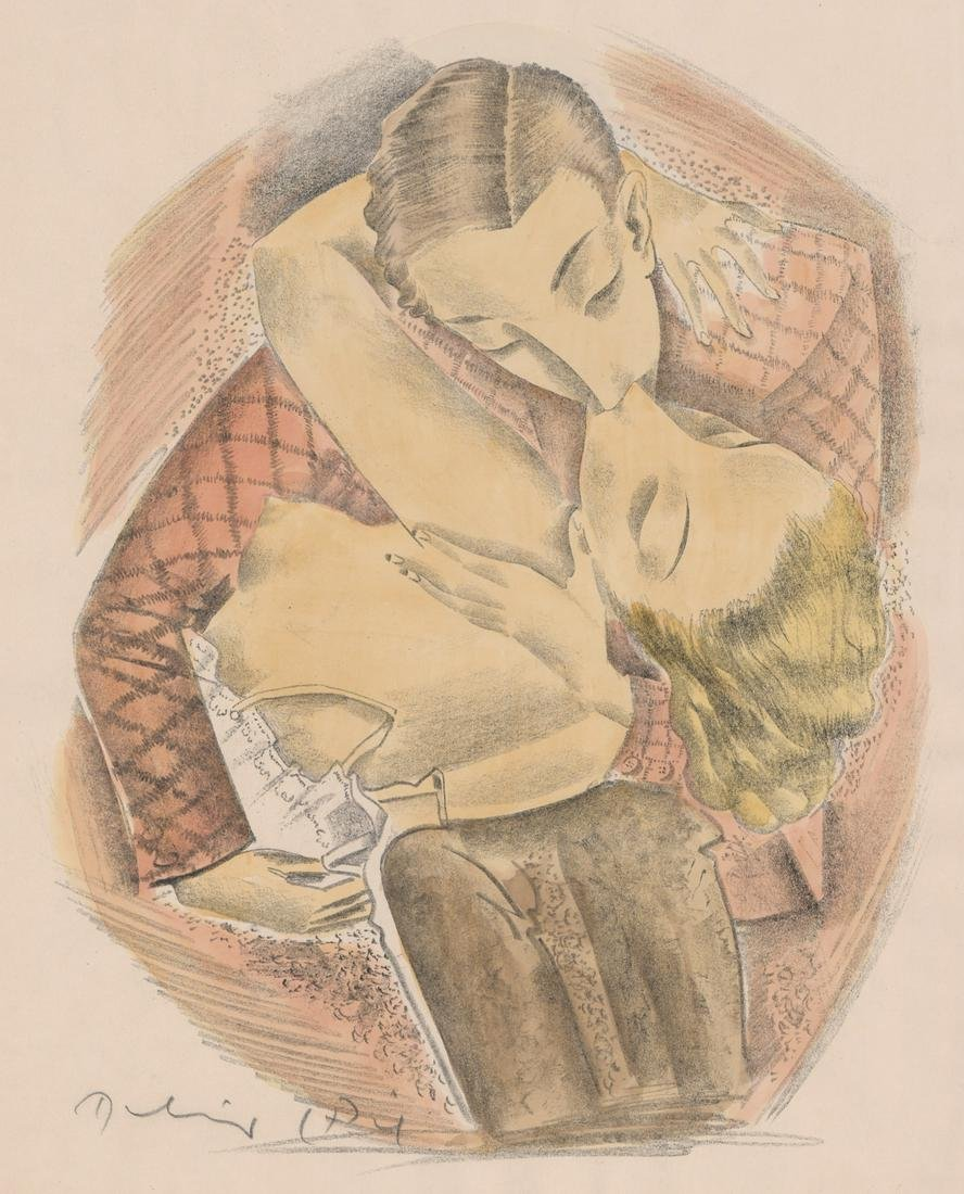 Illegibly Signed Lithograph [Couple Kissing]