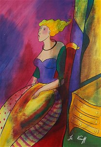 Linda Le Kinff Acrylic on Canvas [Woman]