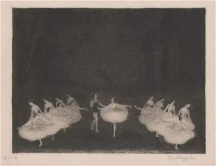 Ernst Oppler Lithograph Ballet