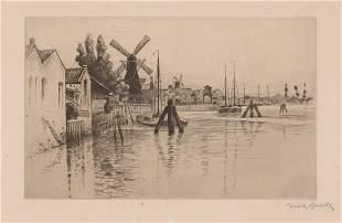 Norbert Goeneutte Etching Rotterdam Windmills