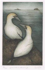 Kathleen Walsh Buchanan Collagraph Print [Birds]