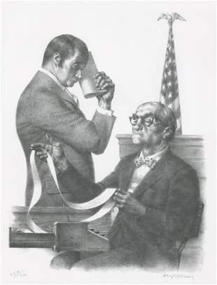 Joseph Hirsch Lithographs Court Scene
