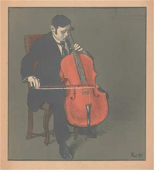 Illegibly Signed Print Cellist