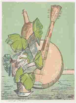 Bernard Kohn Color Litho Still Life Mandolin