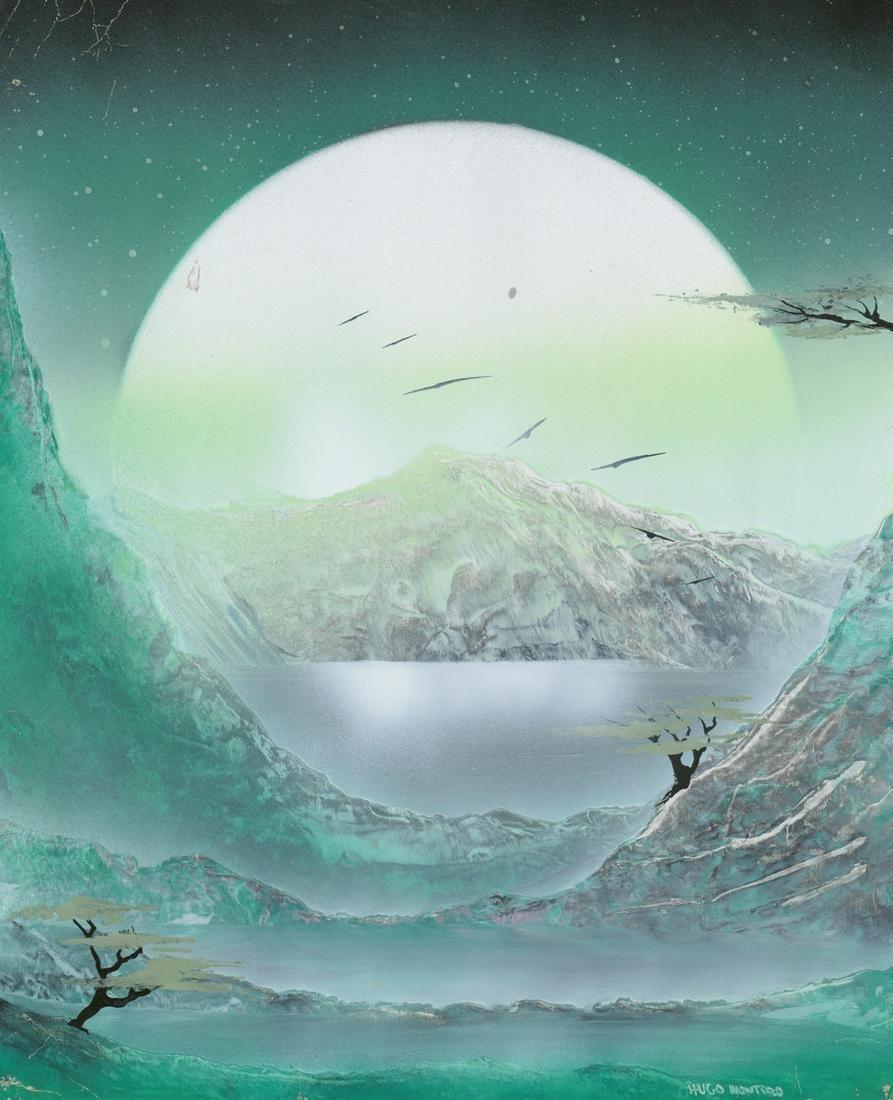 Hugo Montero Original Art [Moon Behind Mountain]