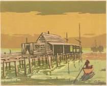 Julius Katzieff Serigraph Canoe on Water