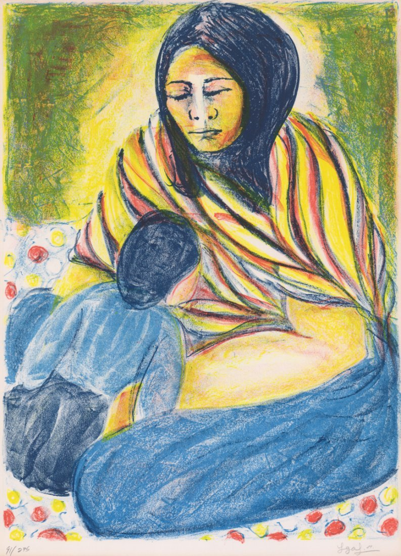 Illegibly Signed Lithograph [SW, Mother and Child]