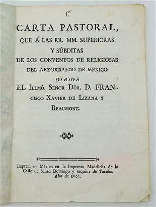 Carta Pastoral Francisco Xavier 19th c Sermons