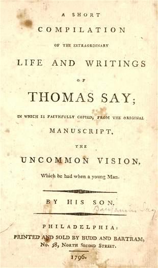 Life and Writings of Thomas Say 1796