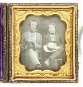 Daguerreotype of Two Men with Fancy Hats