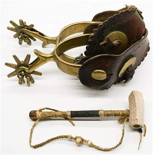 Old Brass Spurs and Beaded Pipe