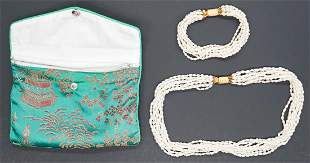 Seed Pearl MultiStrand Necklace and Bracelet
