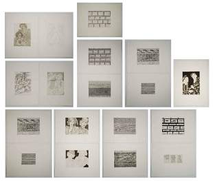A. Chernow/L. Sallick Etchings [Women, Abstract]